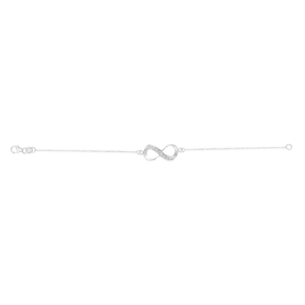 Sterling Silver Cubic Zirconia Infinity Trace Bracelet 19cm