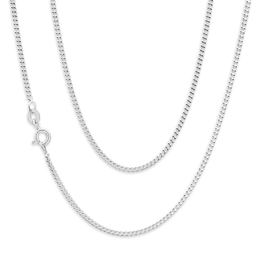 Sterling Silver Unisex Curb 50 Gauge 45cm Chain