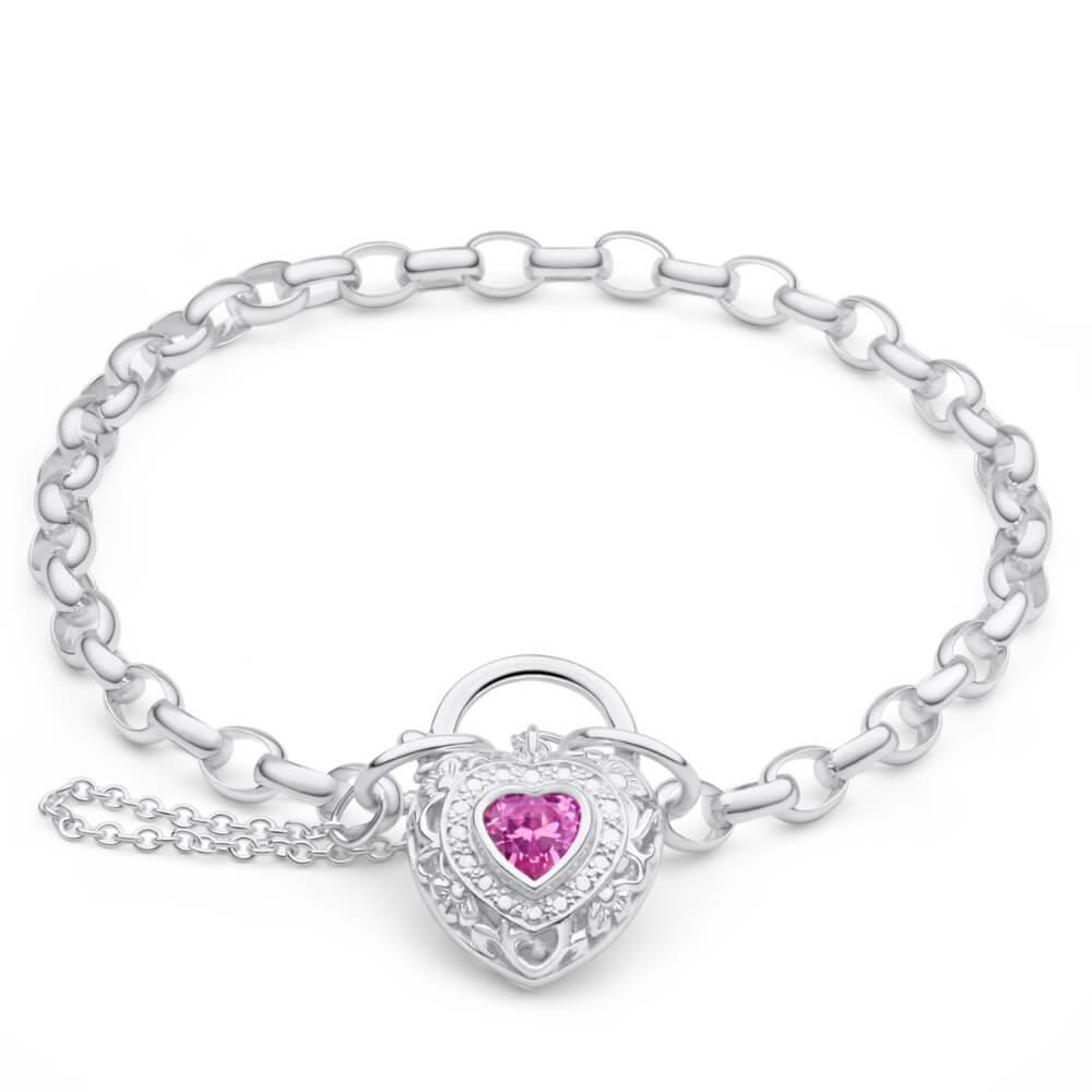 Sterling Silver Cubic Zirconia Filigree Heart 19cm Bracelet