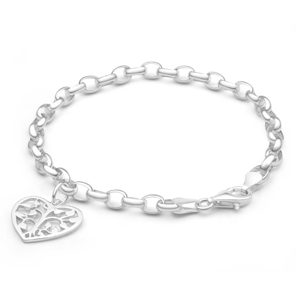 Sterling Silver Belcher Tree Of Life Heart Charm 18cm Bracelet