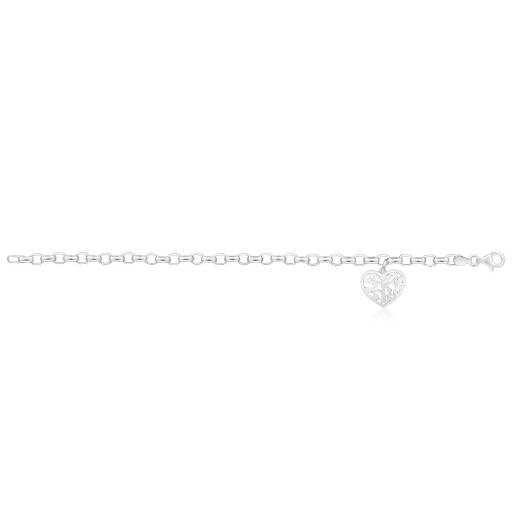 Sterling Silver Belcher Tree Of Life Heart Charm 18cm Bracelet