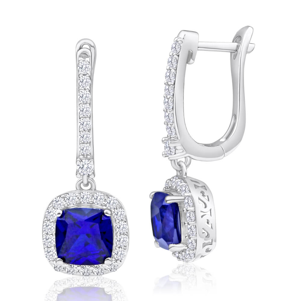 Sterling Silver Rhodium Plated Created Sapphire + Cubic Zirconia Drop Earrings