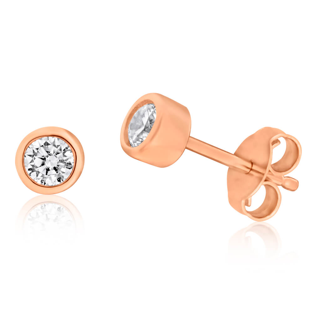 Gold Plated Sterling Silver Zirconia Bezel Stud Earrings