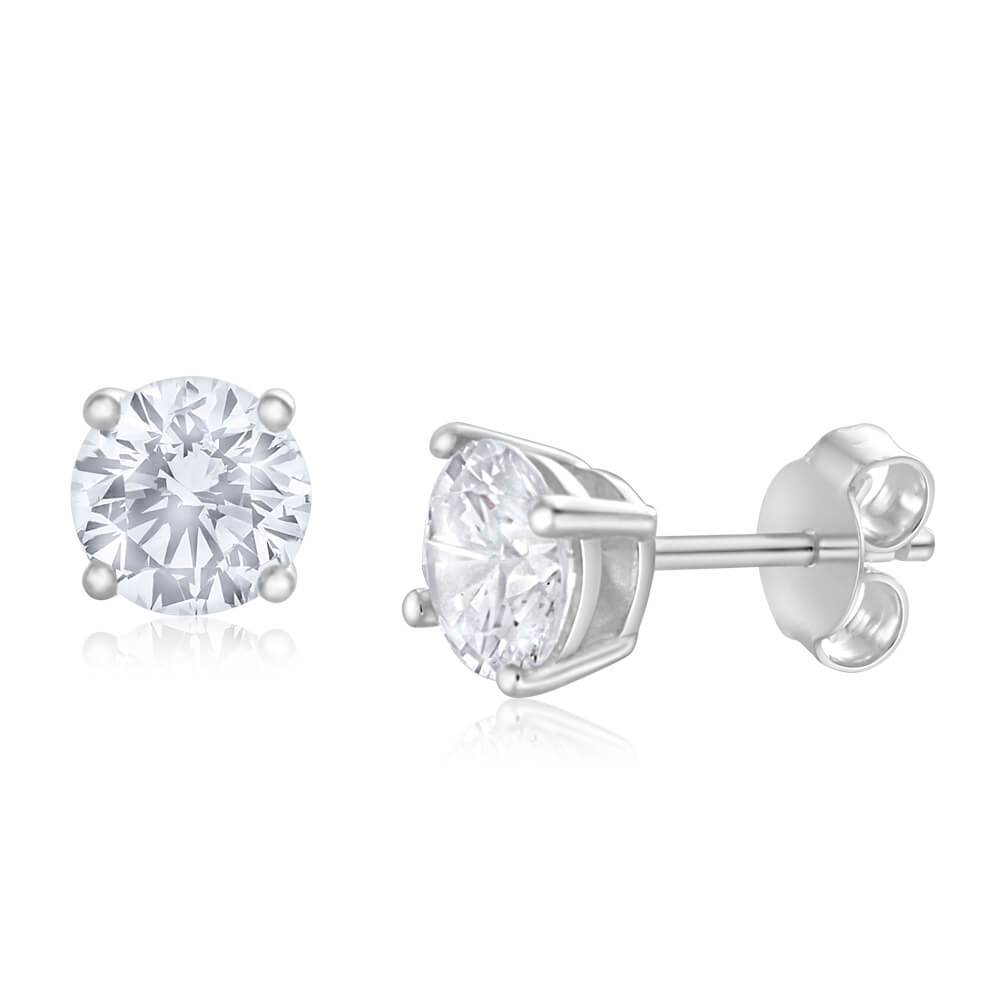 Sterling Silver Zirconia Round 6.55mm White  Stud Earrings