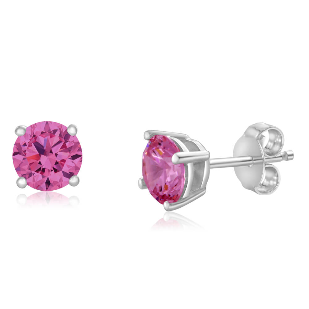 Sterling Silver Zirconia Round 6.55mm Pink Stud Earrings