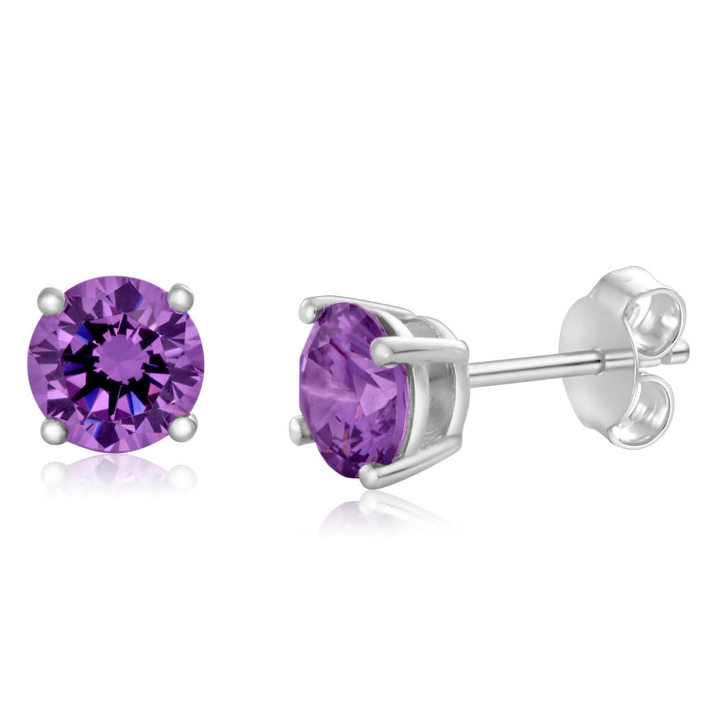 Sterling Silver Zirconia Round 6.55mm Purple Stud Earrings