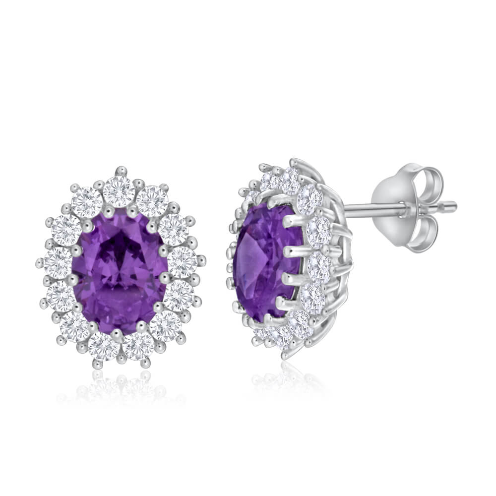Sterling Silver Oval Cut Purple and White Halo Cubic Zirconia Stud Earrings
