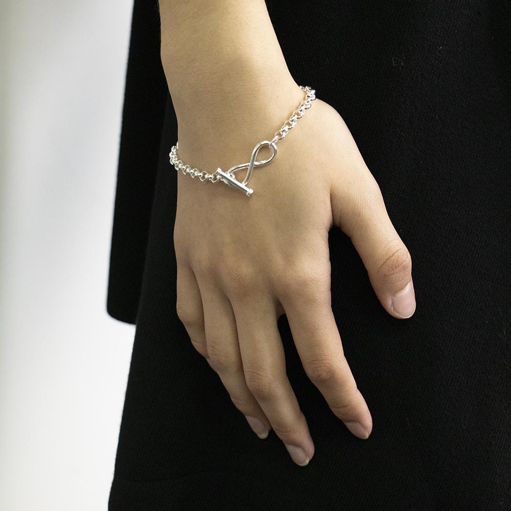 Sterling Silver Belcher Infinity Bracelet