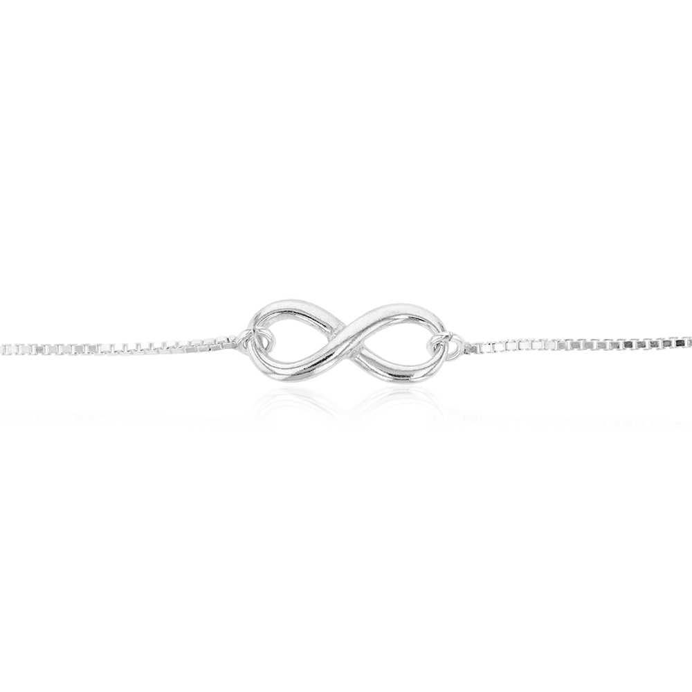 Sterling Silver Fancy Infinity Adjustable Bracelet