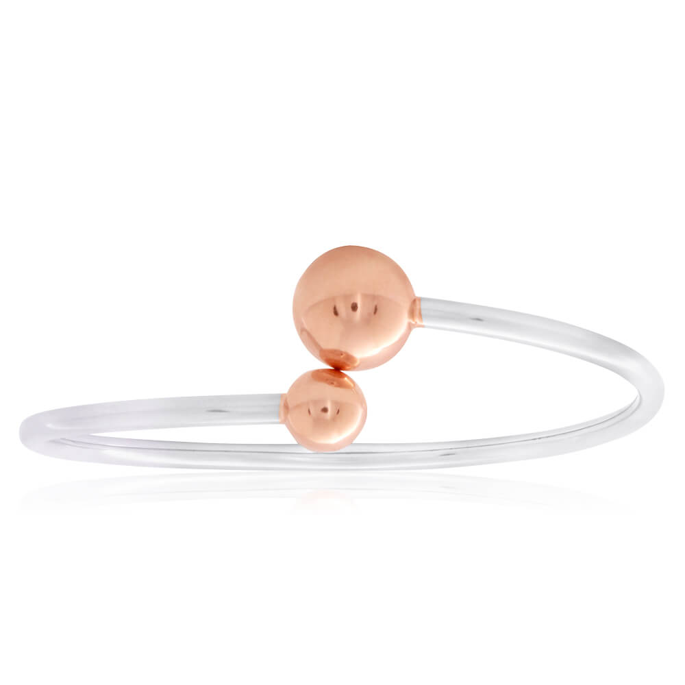 Sterling Silver Rose Gold Plated Fancy Ball Torque Flexible Bangle
