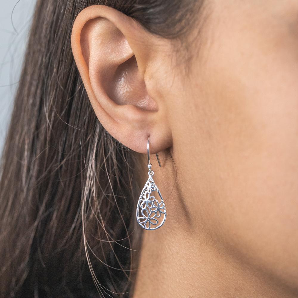 Sterling Silver Fancy Flower Drop Earrings