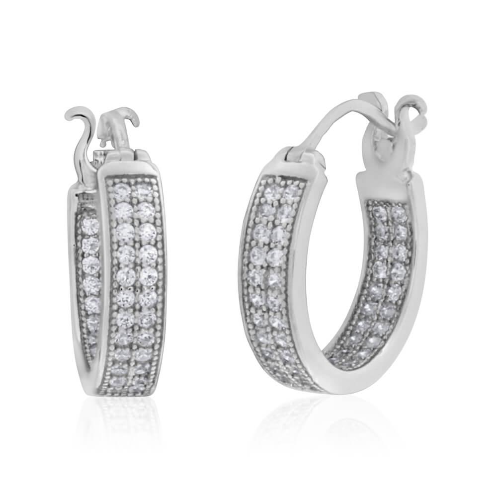 Sterling Silver Cubic Zirconia Pave Hoop Earrings