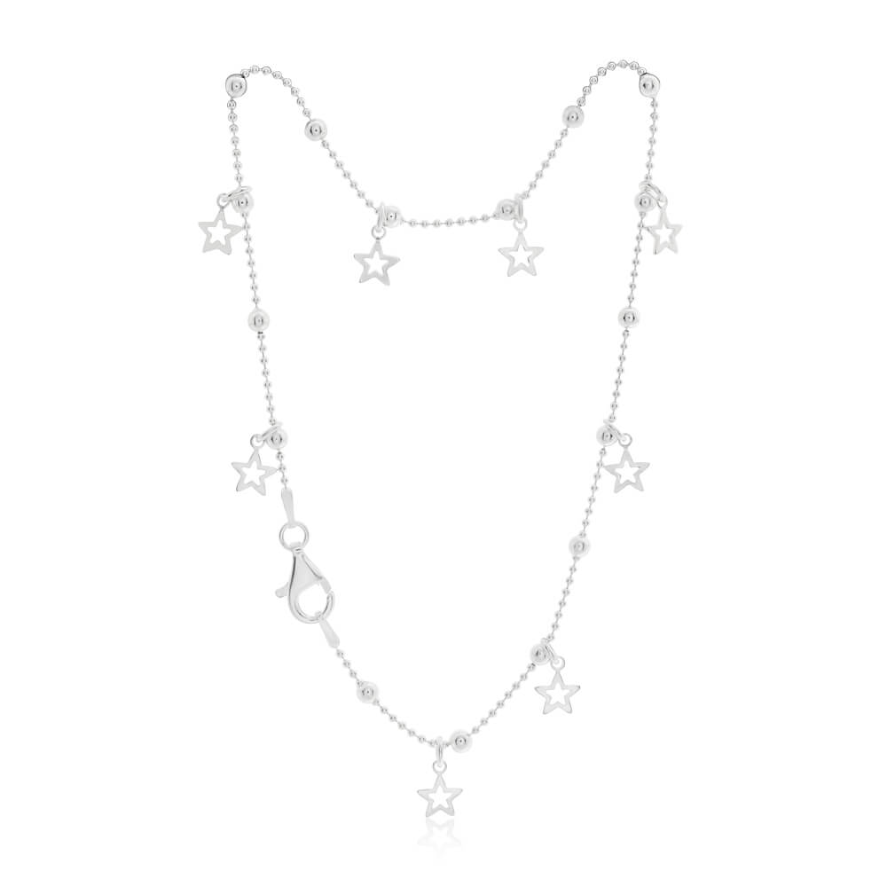 Sterling Silver Fancy Stars Charm Anklet