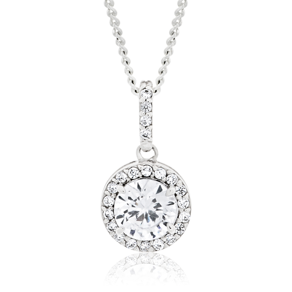 Sterling Silver Rhodium Plated Cubic Zirconia Round Pendant
