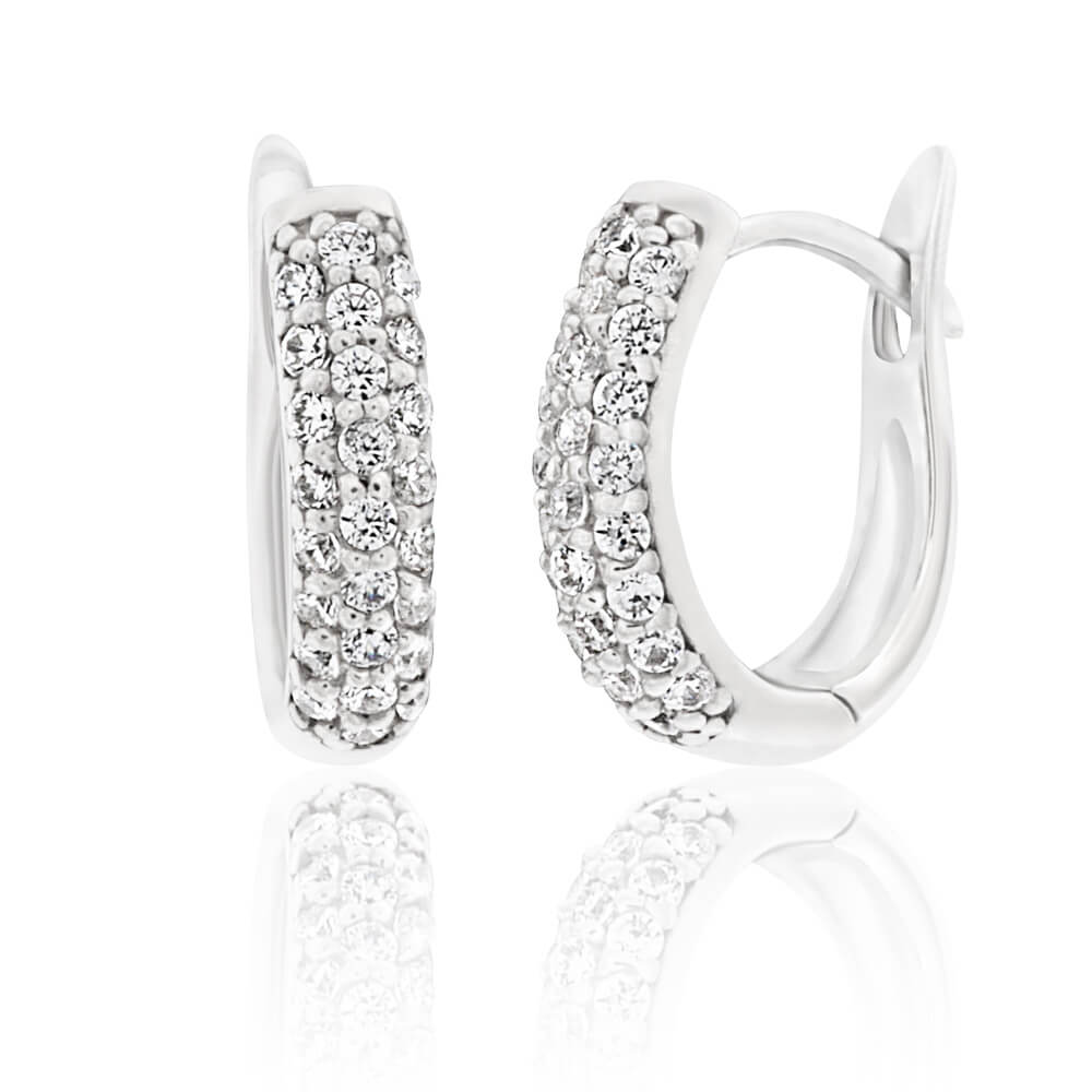 Sterling Silver Rhodium Plated Cubic Zirconia Pave Huggies Hoop Earrings