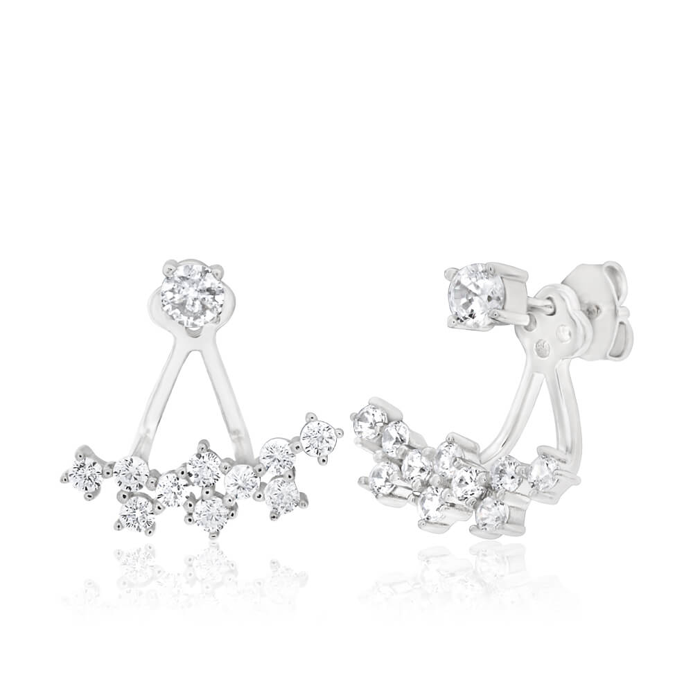 Sterling Silver Rhodium Plated Cubic Zirconia Fancy Lobe Stud Earrings