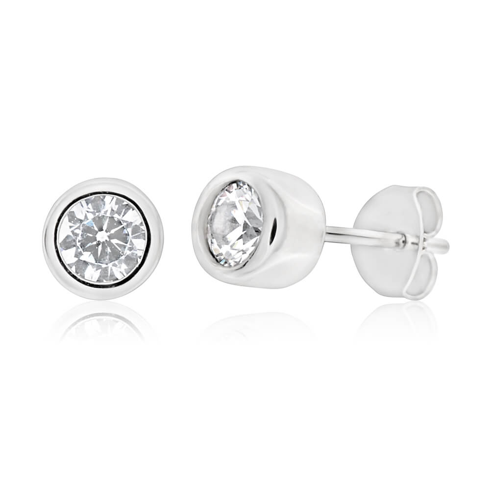 Sterling Silver Rhodium Plated Cubic Zirconia Cylinder Stud Earrings