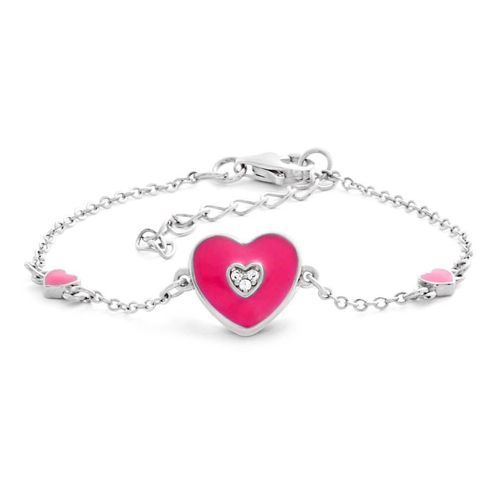 Sterling Silver Rhodium Plated Cubic Zirconia Pink Enamel Heart Bracelet 15cm