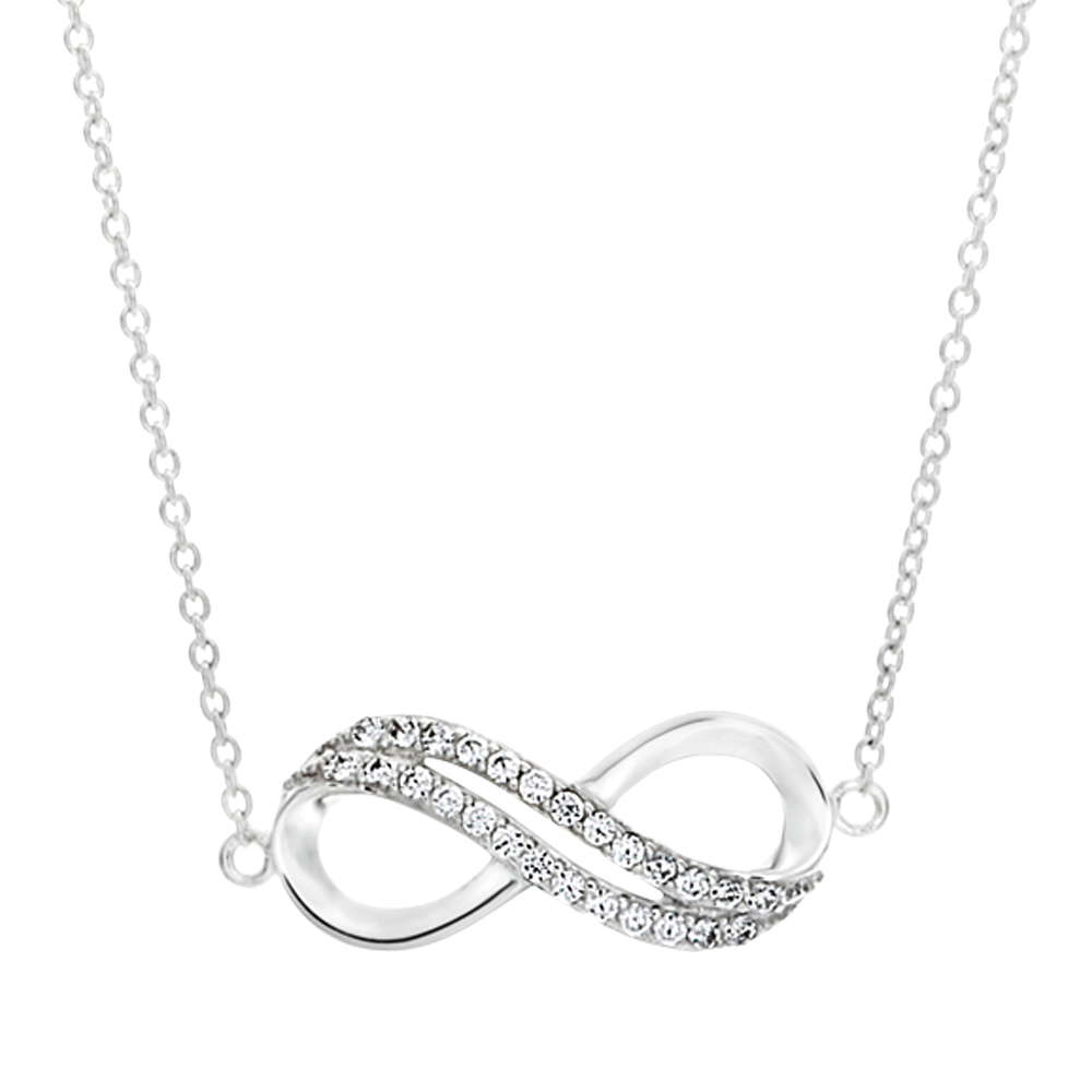 Sterling Silver Cubic Zirconia Infinity Pendant With 45cm Chain