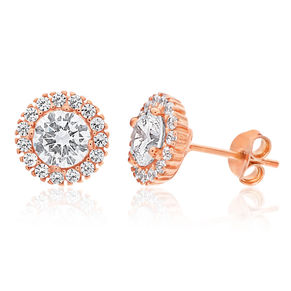 Gold Plated Sterling Silver Cubic Zirconia Round Halo Stud Earrings