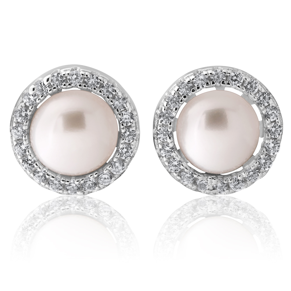 Sterling Silver Cubic Zirconia + Pearl Halo Stud Earrings