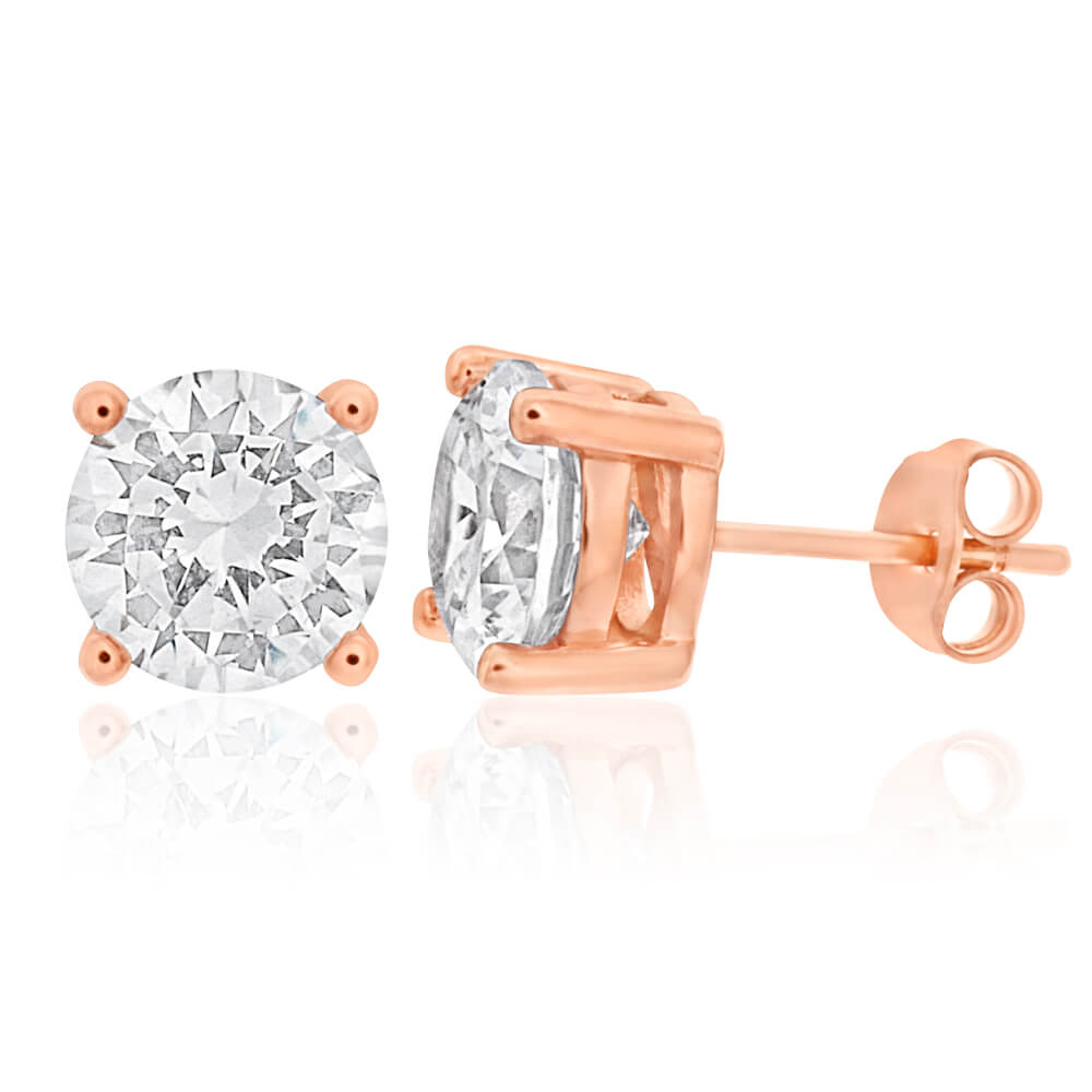 Gold Plated Sterling Silver Cubic Zirconia White 8mm Stud Earrings
