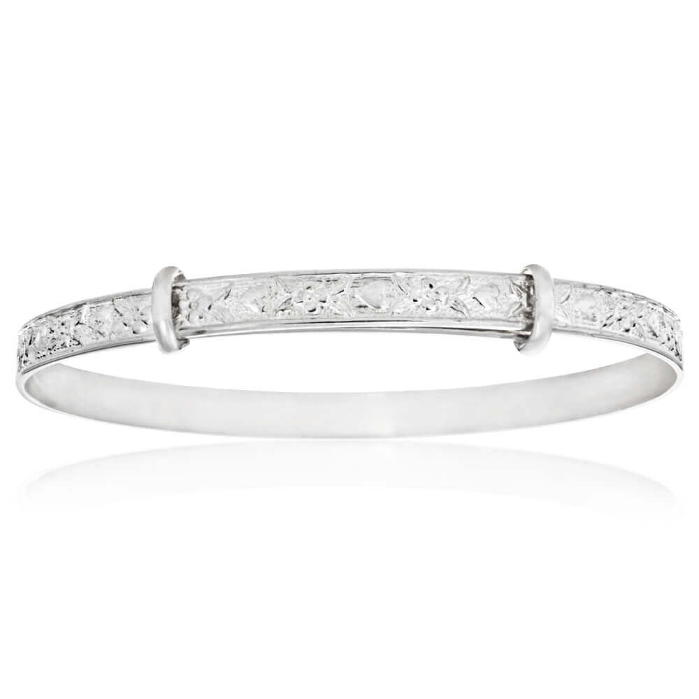 Sterling Silver Embossed Patterned Expandable Baby Bangle
