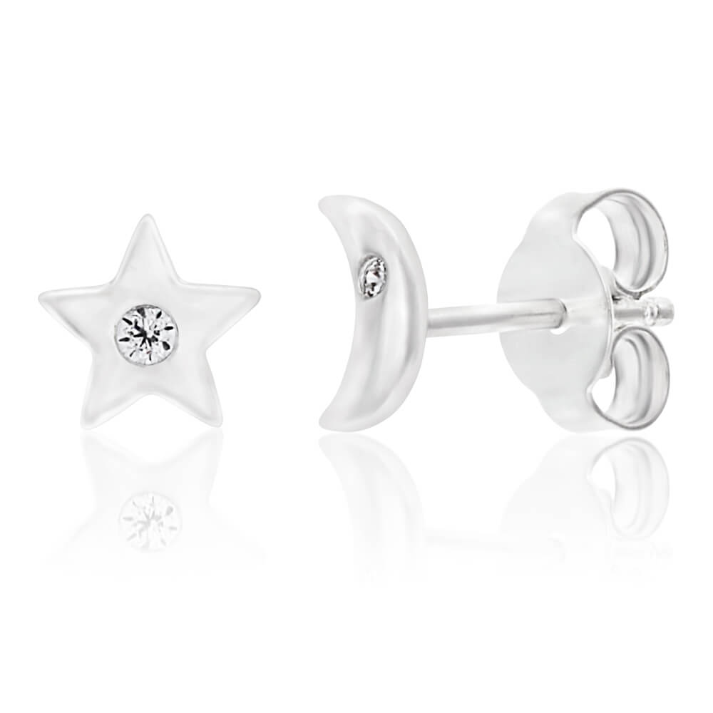 Sterling Silver Cubic Zirconia Moon and Star Stud Earrings