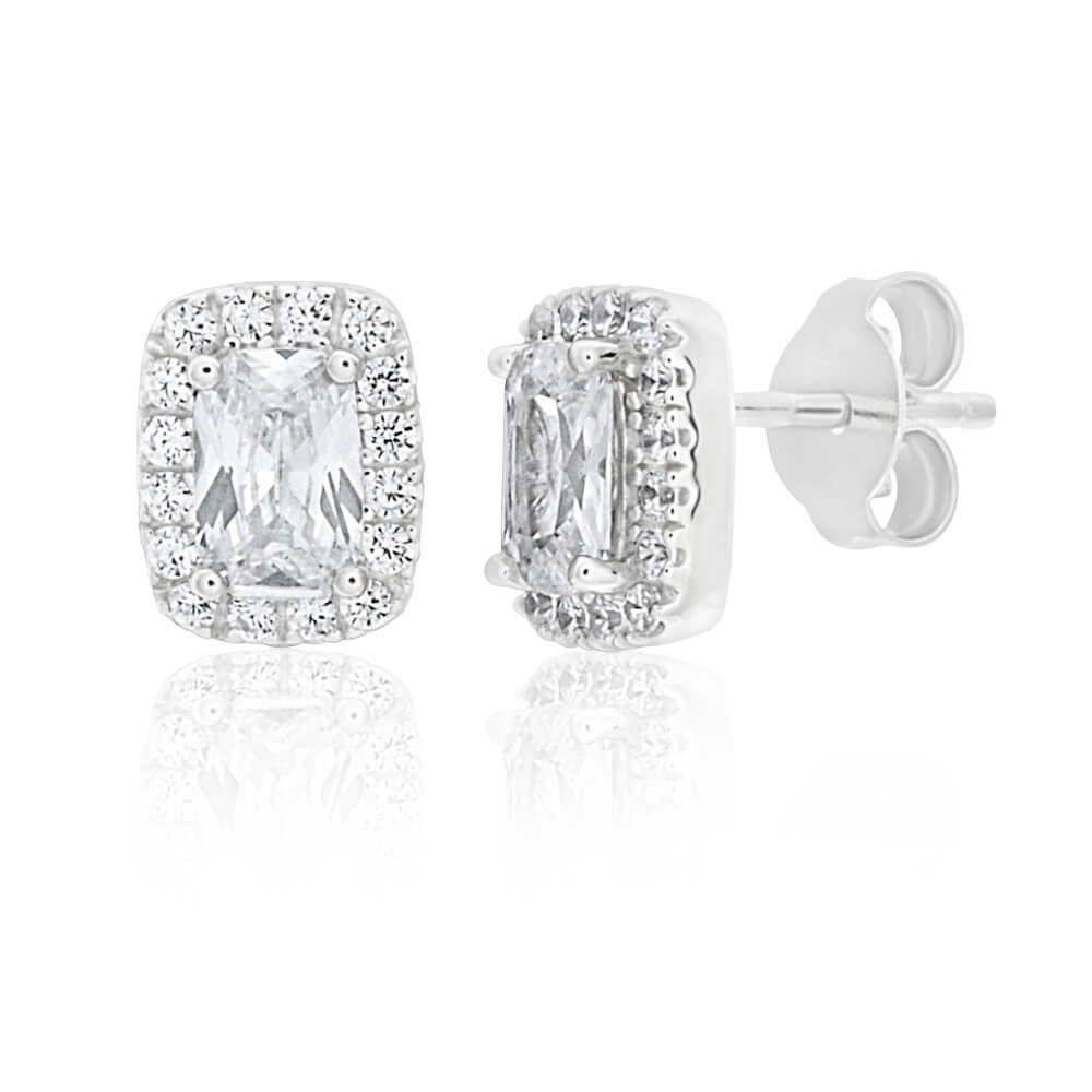 Sterling Silver Rhodium Plated Cubic Zirconia Square Halo Stud Earrings