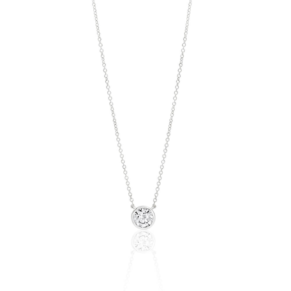 Sterling Silver Cubic Zirconia Bezel 6mm Pendant With 45cm Chain
