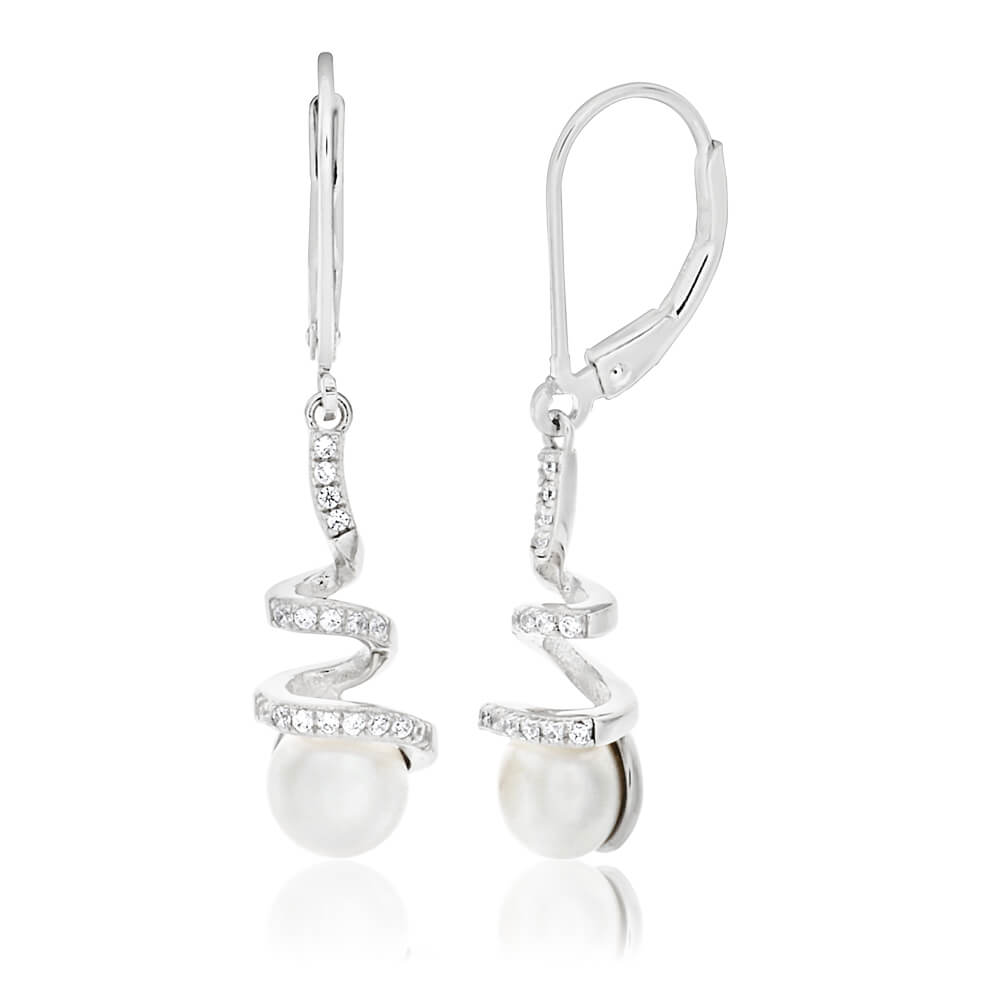Sterling Silver Rhodium Plated Freshwater Pearl and Cubic Zirconia Drop Earrings