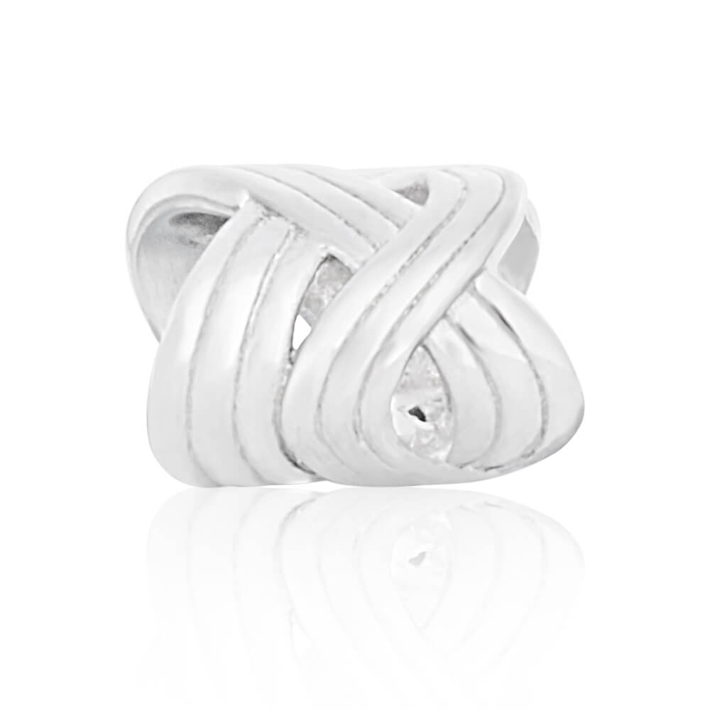Amadora Sterling Silver Rhodium Plated Weave Fancy Charm