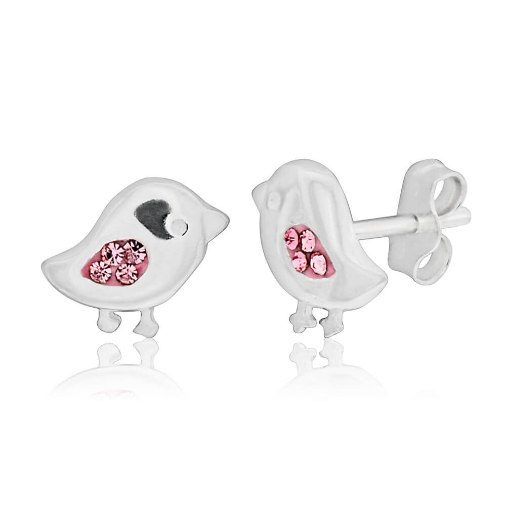 Sterling Silver Pink Bird Cubic Zirconia Stud Earrings