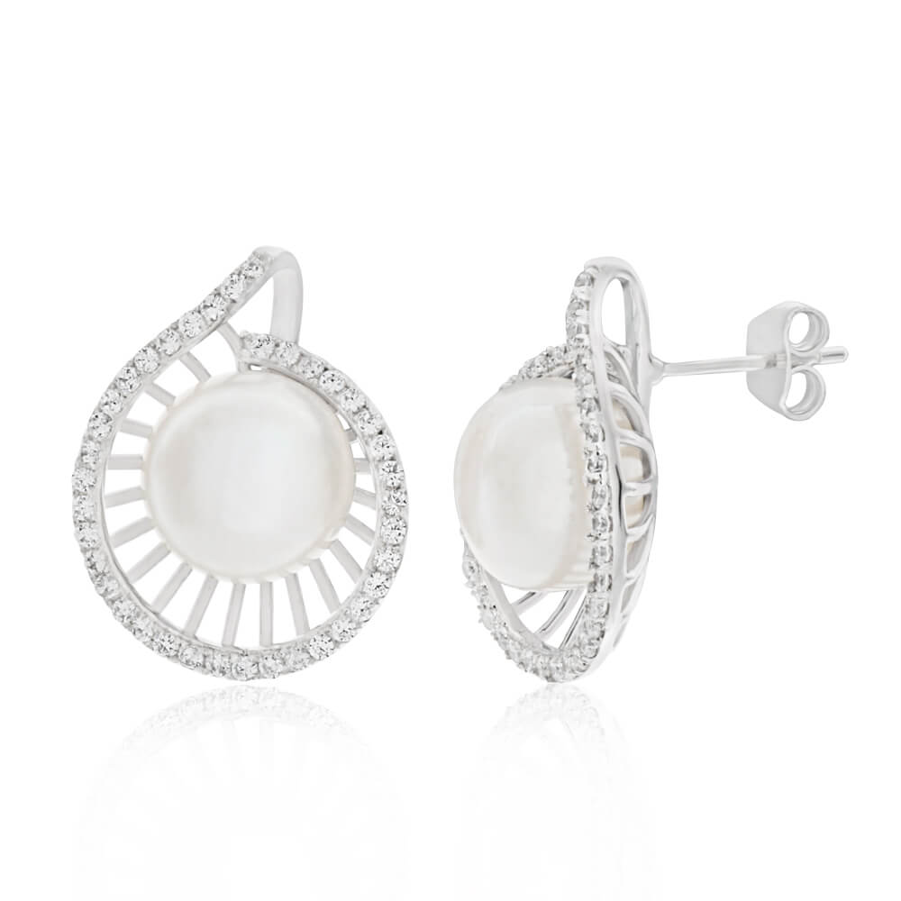 Sterling Silver Freshwater Pearl and Cubic Zirconia Fancy Spiral Stud Earrings