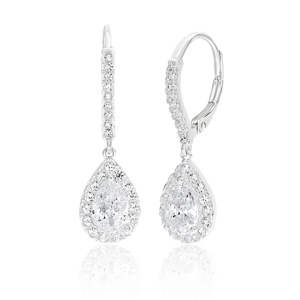 Sterling Silver Cubic Zirconia Pear Shaped Drop Earrings
