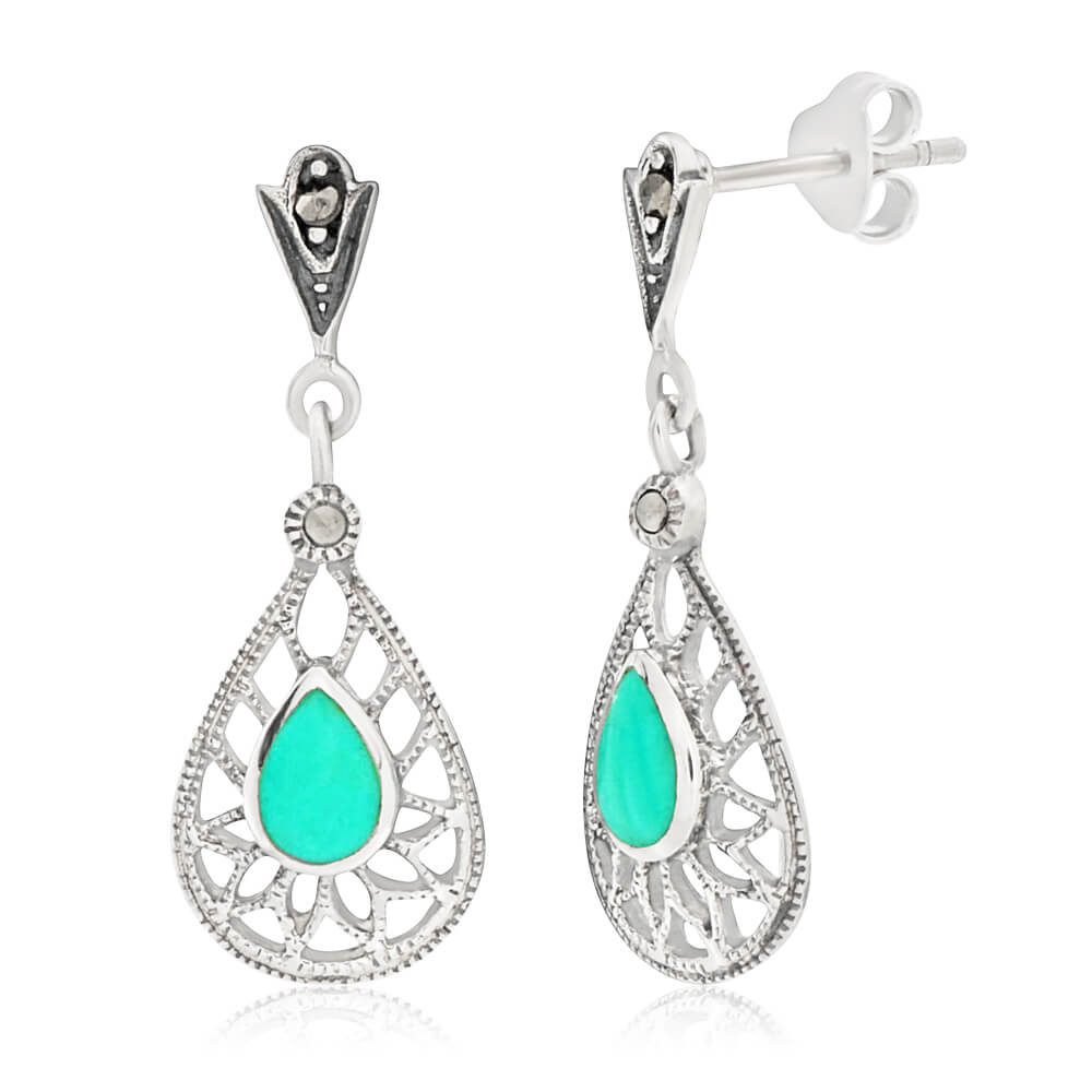 Sterling Silver Created Turquoise Classic Drop Earrings