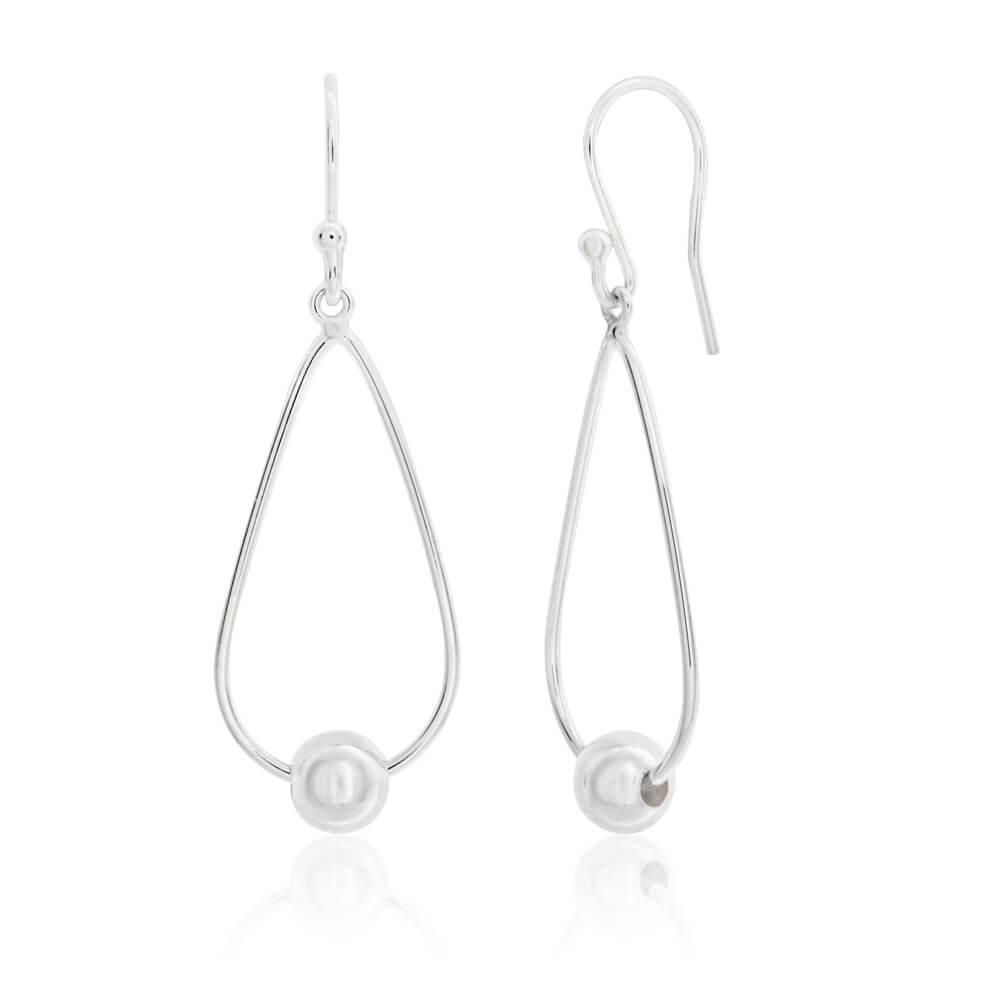 Sterling Silver Teardrop Bead Ball Drop Earrings