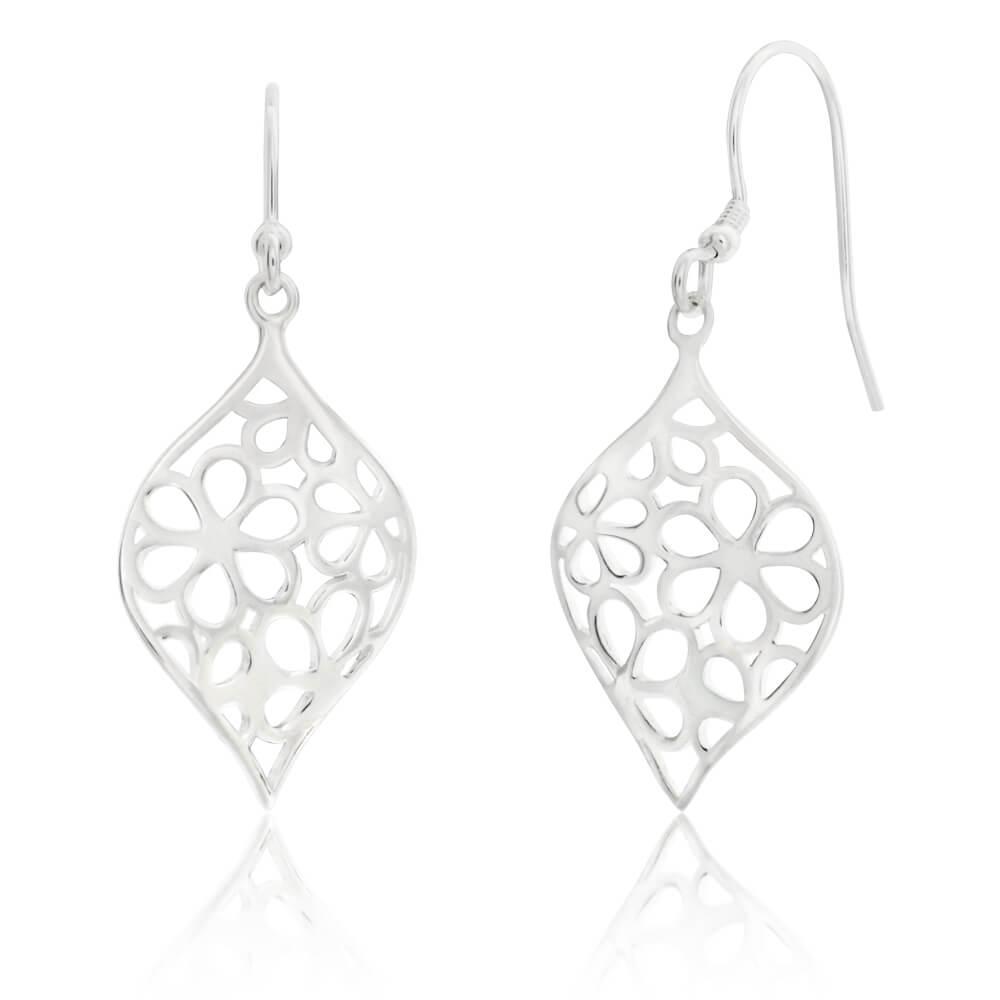 Sterling Silver Flower Cut Out Patterned Drop Earrings