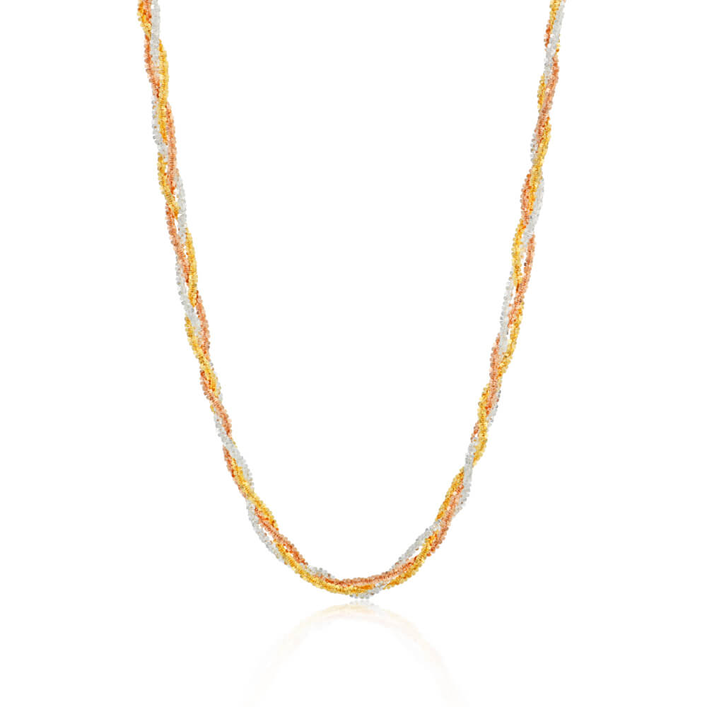 3 Tone Sterling Silver and Gold Plated Multi Strand Necklace 42cm