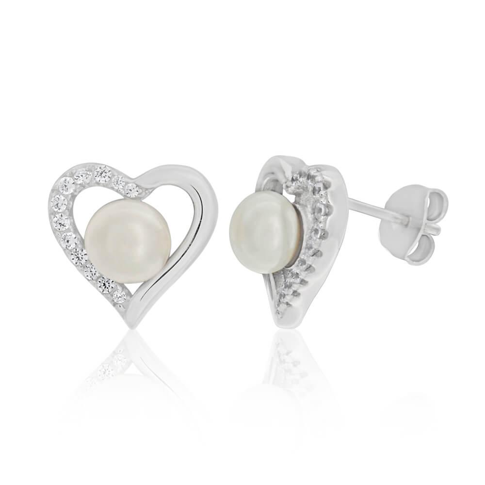 Sterling Silver Freshwater Pearl and Zirconia Heart Stud Earrings