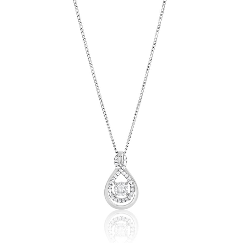 Sterling Silver Rhodium Plated Cubic Zirconia Figure 8 Pendant With 40 + 5cm Chain