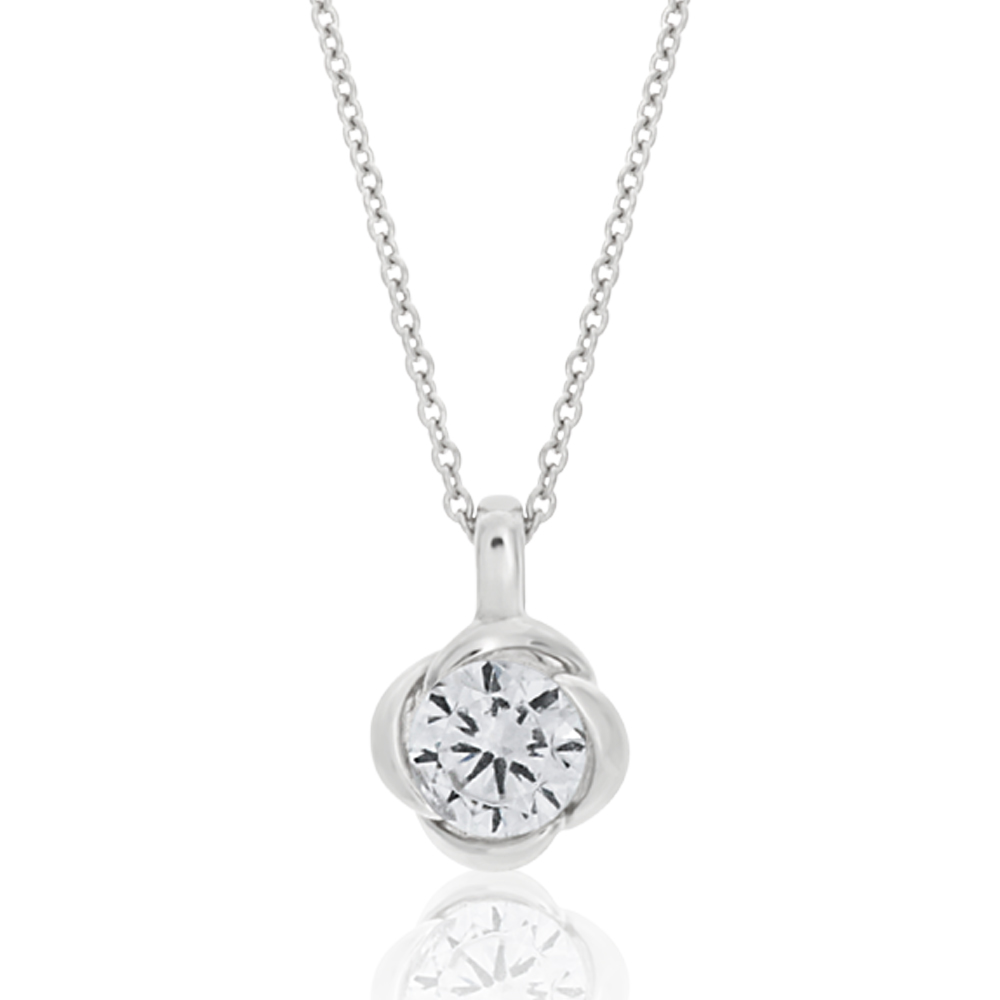 Sterling Silver Cubic Zirconia Flower Pendant With 40 + 5cm Chain