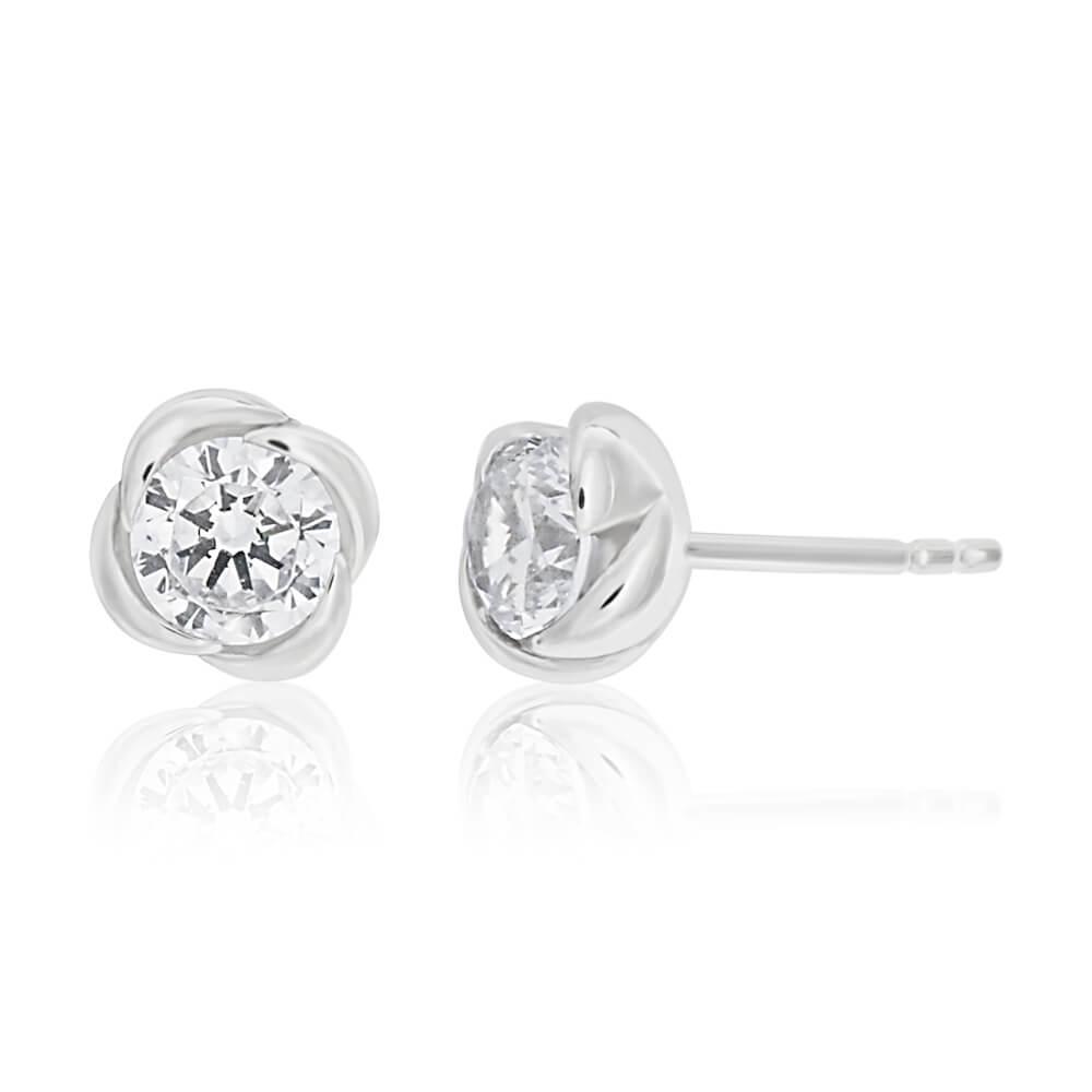 Sterling Silver Cubic Zirconia Flower Stud Earrings