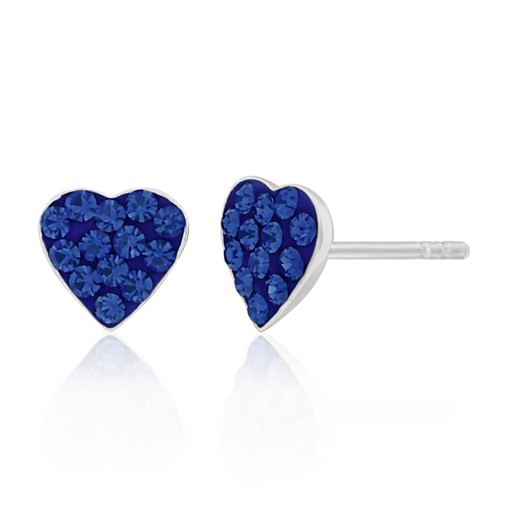 Sterling Silver CrystalBlue Heart stud Earrings