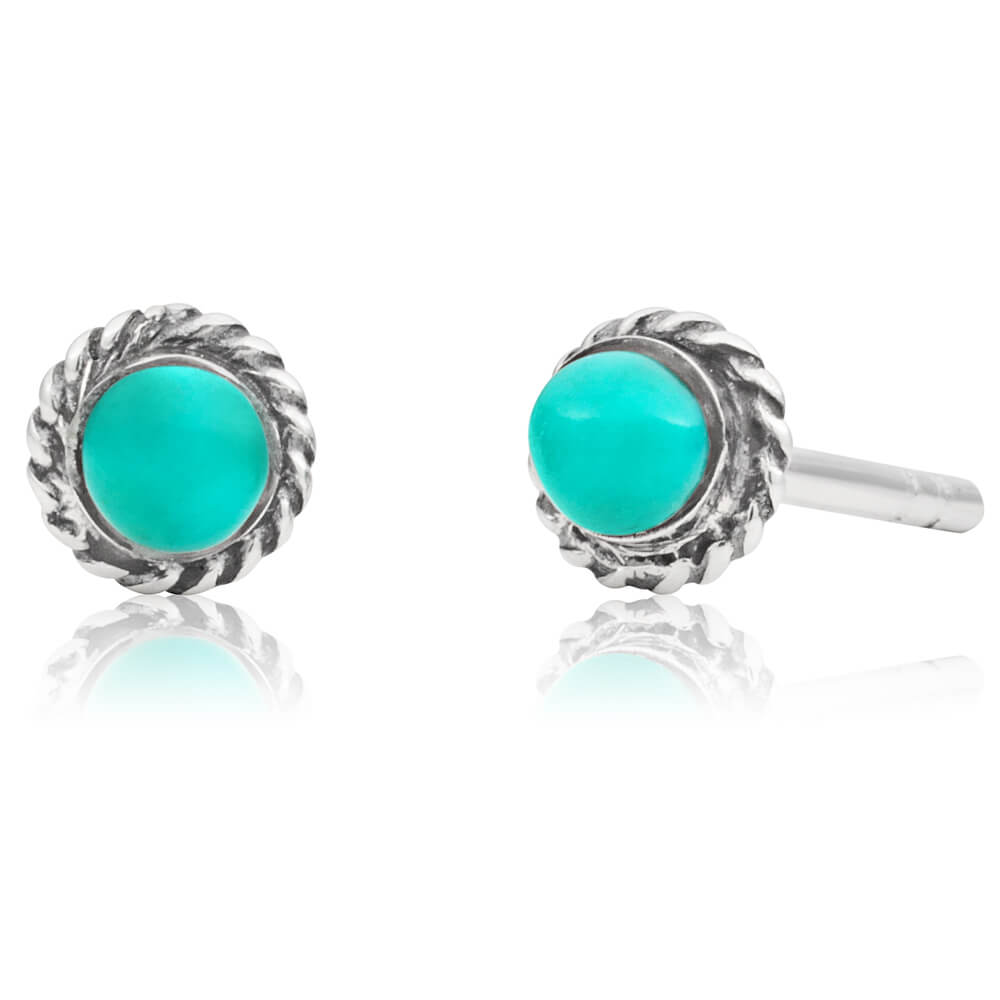 Sterling Silver Created Turquoise Stud Earrings