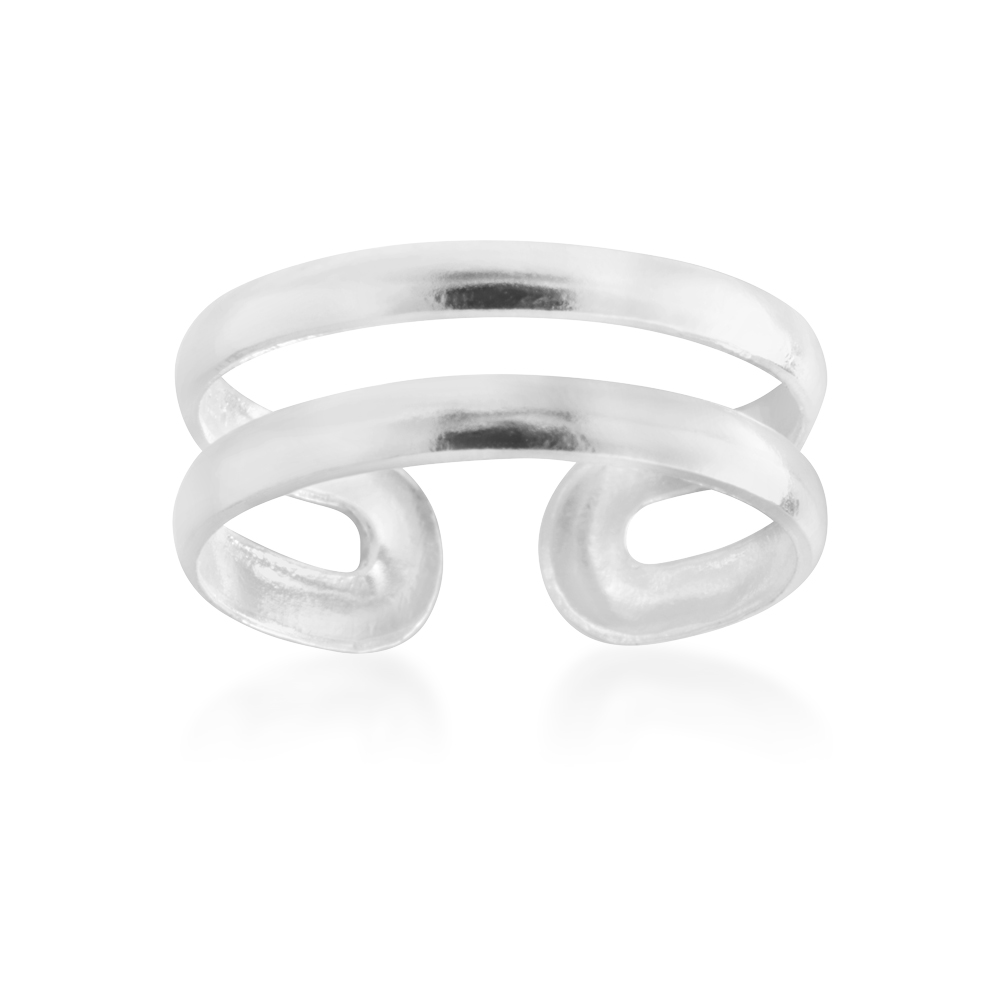 Sterling Silver Double Band Torque Toe Ring