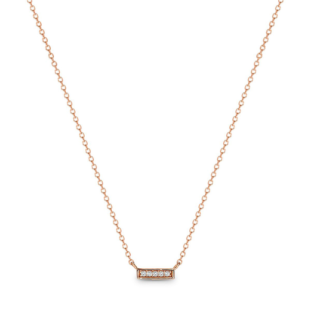 Georgini Mima Zirconia Rose Gold Plated Sterling Silver Bar Necklace