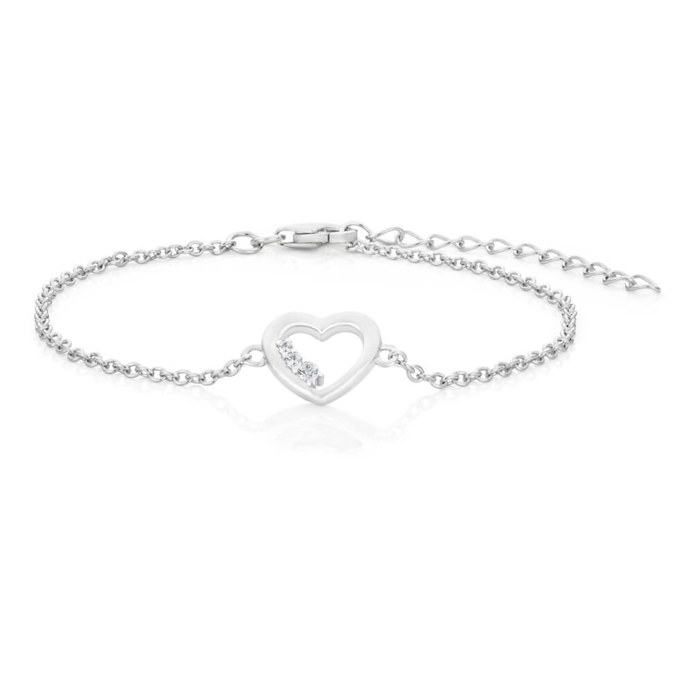Sterling Silver Rhodium Plated Cubic Zirconia Open Heart Bracelet