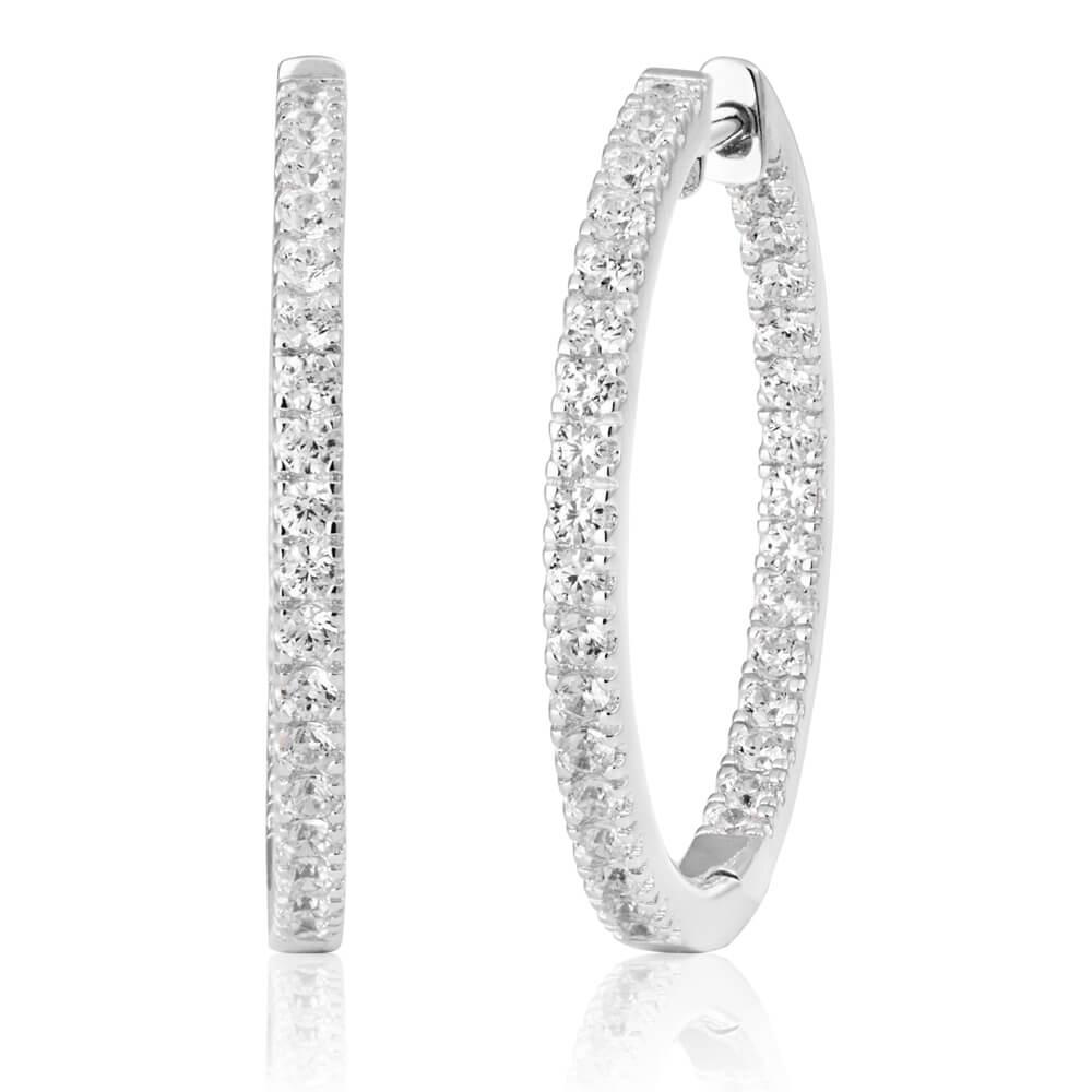 Sterling Silver Cubic Zirconia 25mm Hoop Earrings