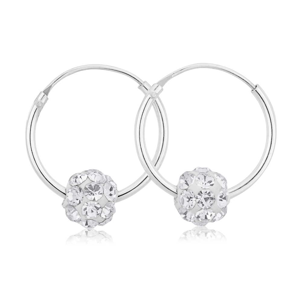 Sterling Silver White Crystal Slider Hoop Earrings